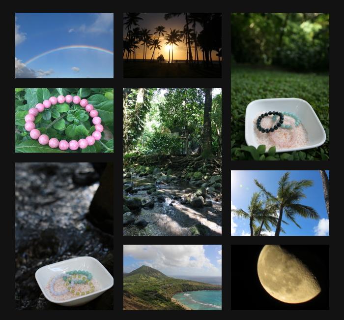 天然石・パワーストーンをハワイの大自然で浄化します。