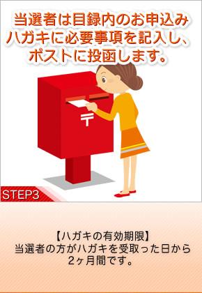 [STEP3]当選者は目録の中に入っているお申込みハガキに必要事項を記入し、ポストに投函します。 【ハガキの有効期限】当選者の方がハガキを受取った日から2ヶ月間です。