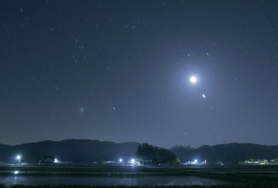 八幡高原の夜の田園風景></div><div style=