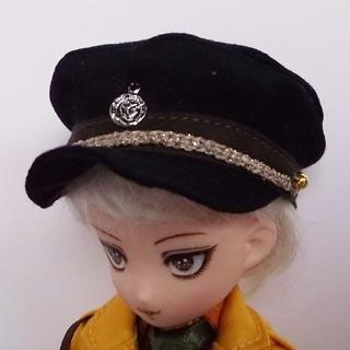 [からすねこ] ミリタリー帽子黒 大