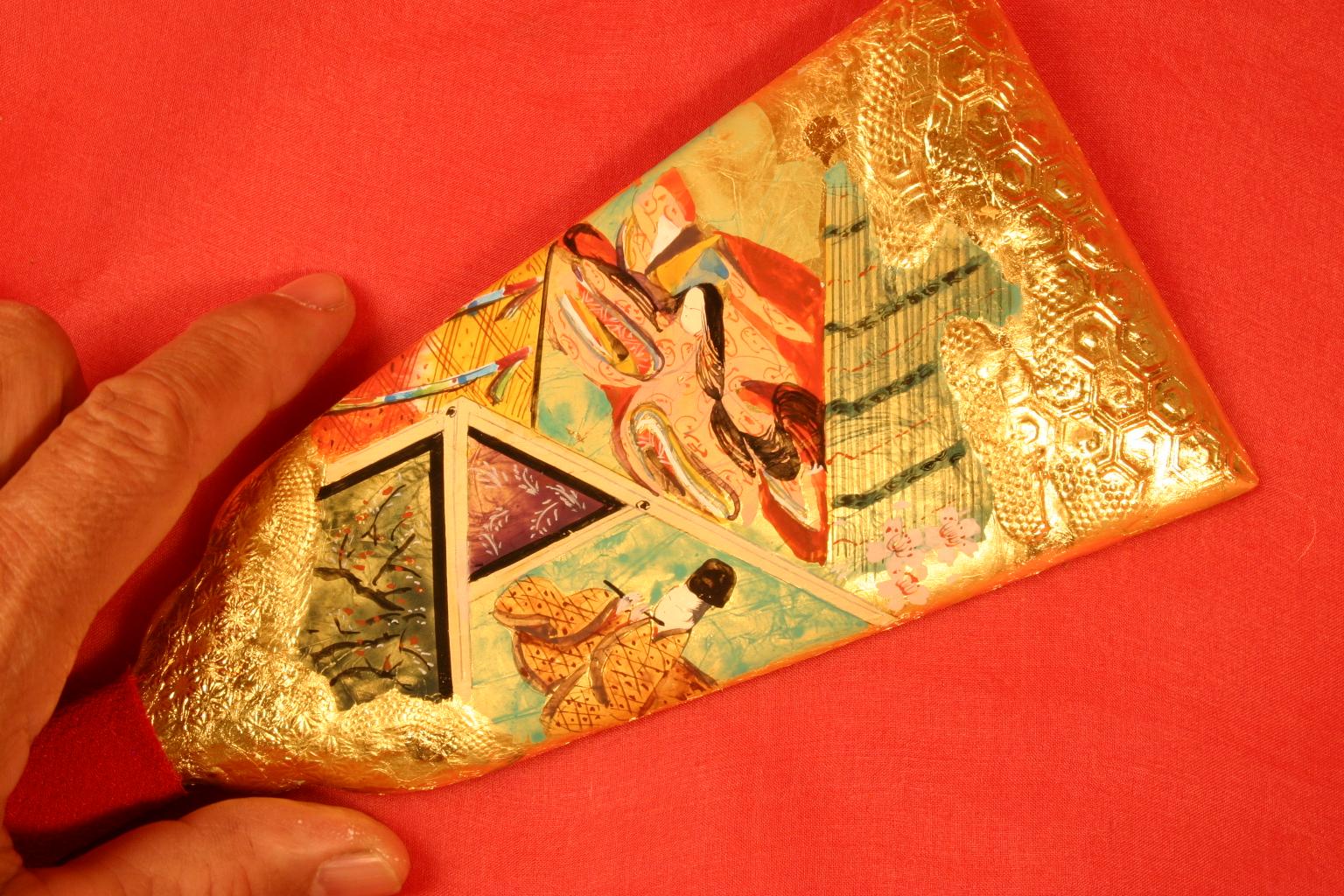 手描き彩色の羽子板。オーダーメイドです。