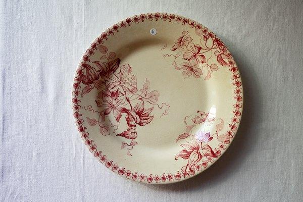 赤ボルドー窯フランスアンティークプレートBの画像