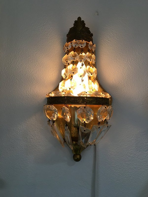 アンティークガラスワォールランプの画像